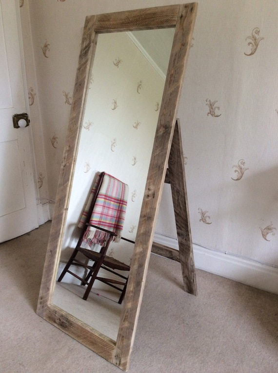 Rustic Full Length Mirror Wall Mounted Or With Stand Made From Etsy