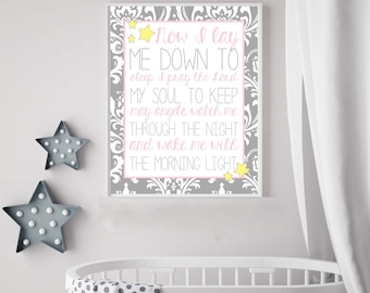 Now I Lay Me Down To Sleep Child Bedtime Prayer Gray Pink Damask Nursery Print Girl Nursery Decor Godmother  Baby Shower gift