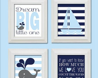 Nautical Nursery Wall Print- Nursery Art - Count the waves in the sea - Whale - Sailboat Dream Big-Baby Blue and Navy - 8X10 JEPG Download