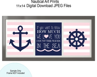 Soft Pink & Navy - Nautical Nursery -  Nautical Girl - If you want to know how much we love you - Nautical Quote - Anchor - Nautical Decor