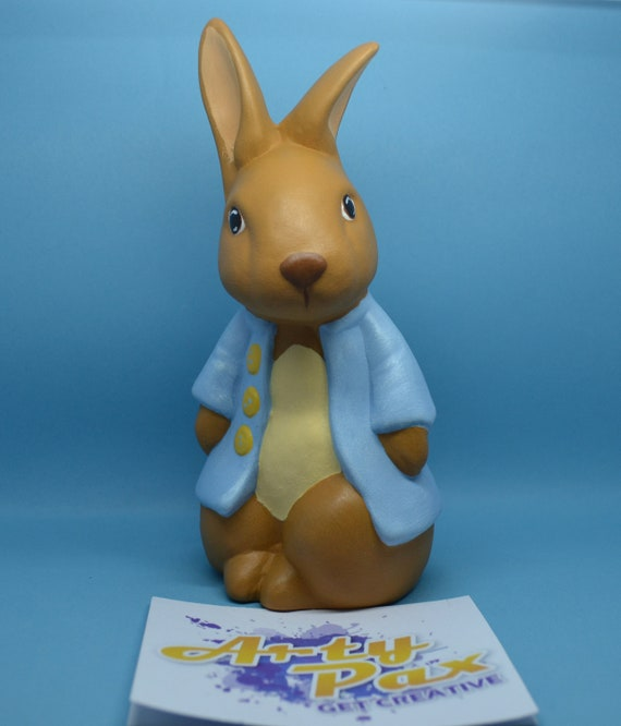 Rabbit Figurine Ceramic Blue Approx 8cm High