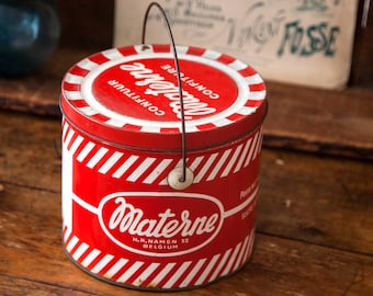 1950s Large Jam Tin - Materne - Made in Belgium - Cheerful Red