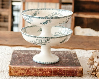 Early 1900s French Ironstone Cake Stands - Sarreguemines Royat  -  Blue Transferware - Set of 2 - Damaged