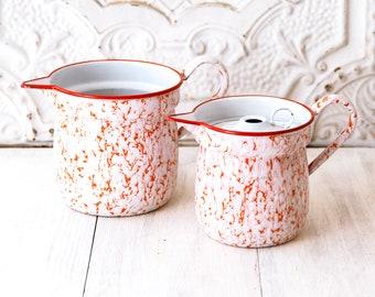 1930s French Enamel Water or Milk Pitchers - Set of 2 - Graniteware Orange Red White