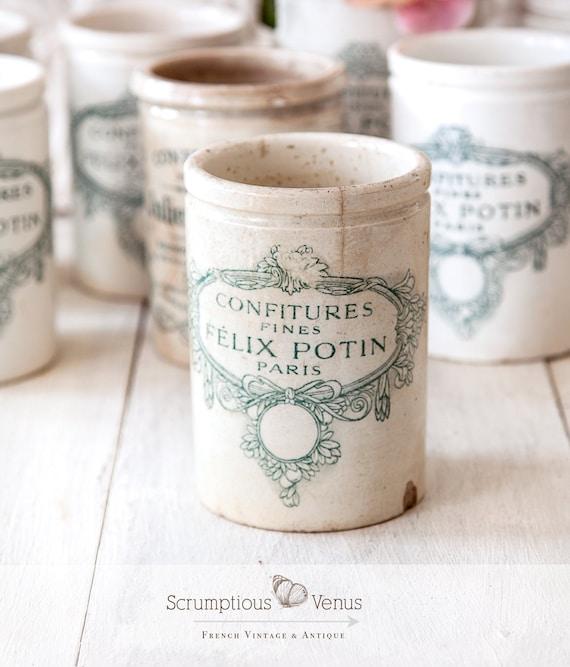 Felix Potin Paris vintage marmalade stoneware jar crock