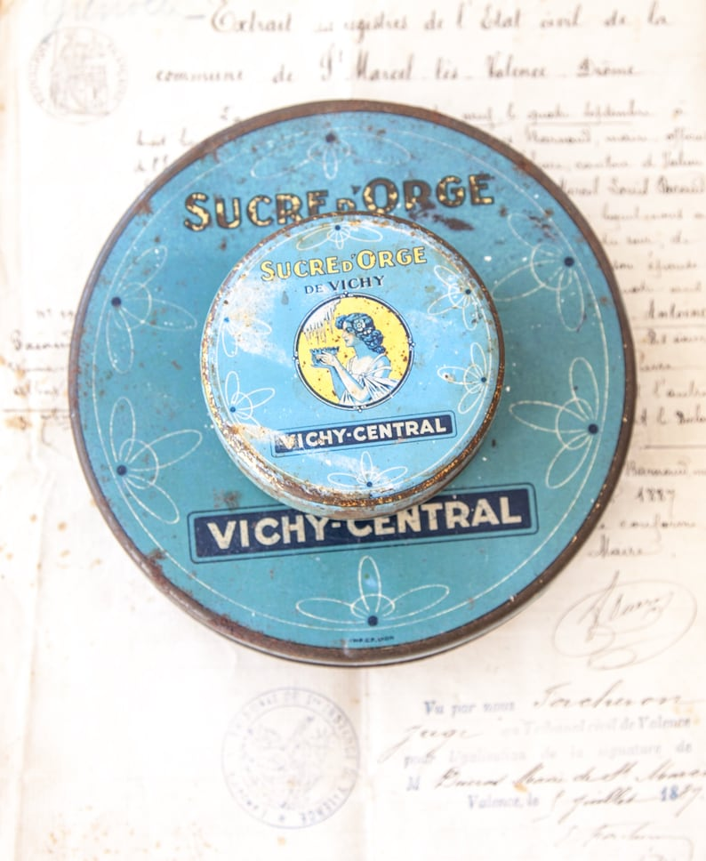 2 Vintage French Candy Tin  Vichy  Sucre d'Orge  image 0