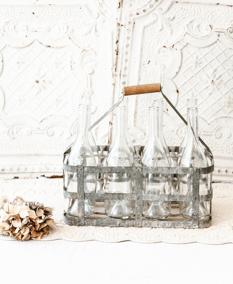 Vintage French 8 Bottles Metal Carrier  Country or Industrial image 0