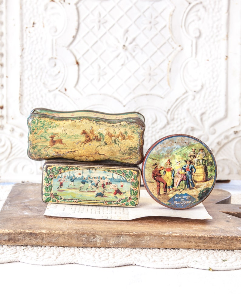 3 Vintage Pretty French Candle and Cookies Tins image 0