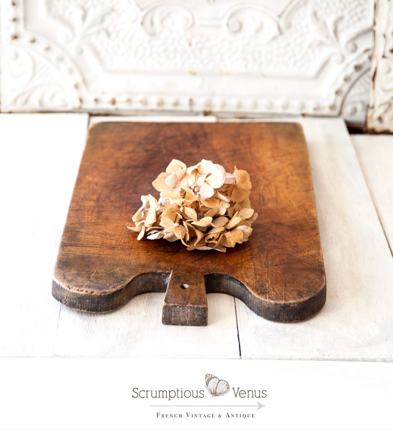 Vintage French Wooden Bread Board  Large Size  Rustic Cheese image 0