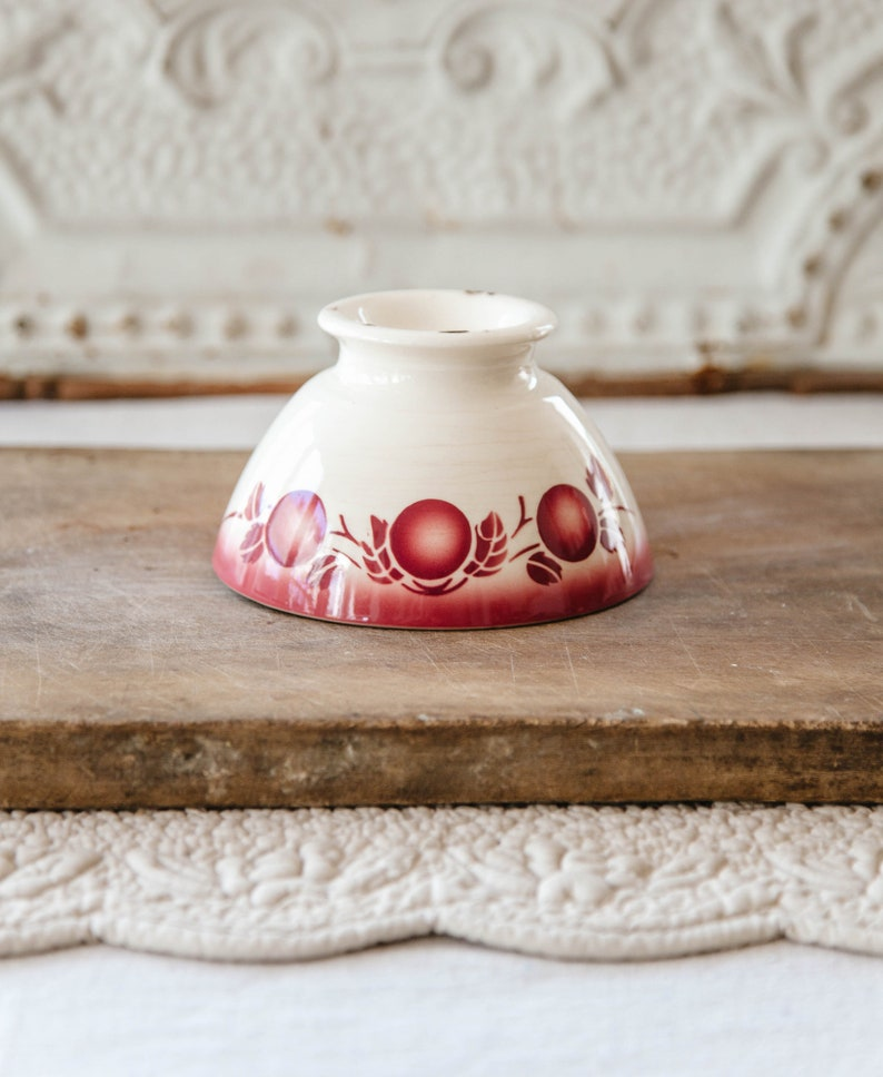 Beau 1940s French Cafe Au Lait Bowl   Badonviller   Cheerful Burgundy Cherries  Pattern   French Country Kitchen Decor
