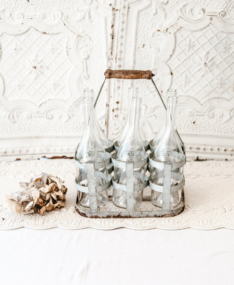 Vintage French 6 Bottles Metal Carrier  Country or Industrial image 0