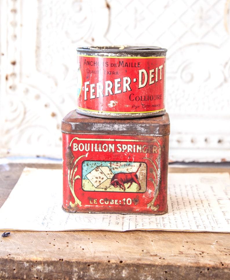 2 Vintage Fresh Kitchen Tins  Vintage French Red Kitchen Tins image 0