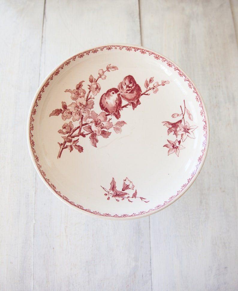 Sarreguemines Favori Red  Pink Transferware Early 1900s French Ironstone Cake Stand