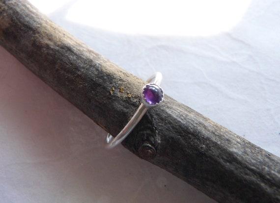 Amethyst Stacking Ring February Birthstone Ring Thin Etsy