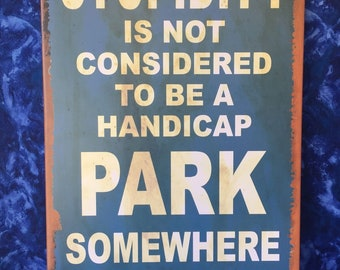 16″ X 10″ TIN SIGN Stupidity is Not Considered A Handicap Park Tin Sign New