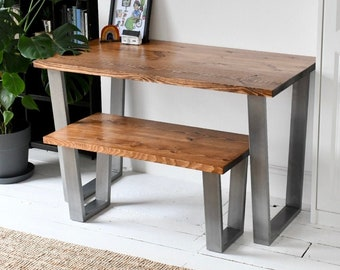 TRUMAN | Solid Wood Dining Table & ONE Bench With Industrial Bases