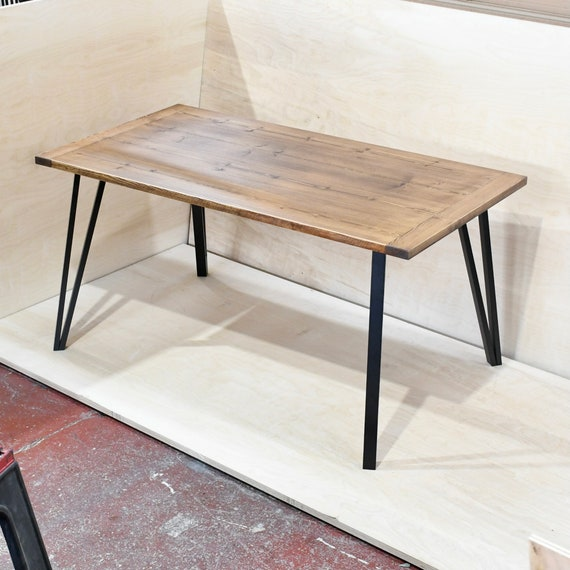 LEIGH   Solid Wood Desk / Dining Table /  Home Office / Home Desk / Simple Desk With Your Choice Of Single Pin Bases