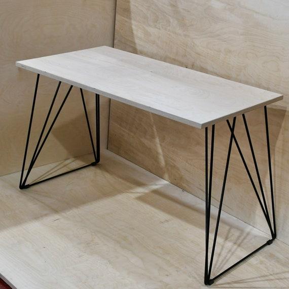 WINTER   Birch Ply Desk With Wire Frame