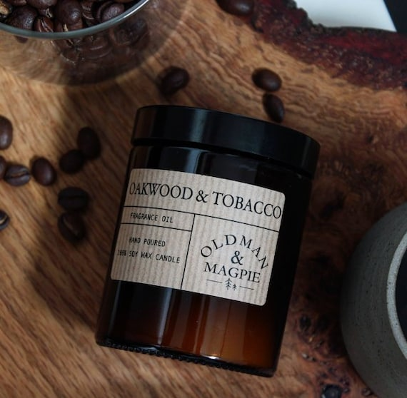 OAK WOOD & TOBACCO | 100% Natural Soy Wax Candle - Hand Poured + Vegan Friendly