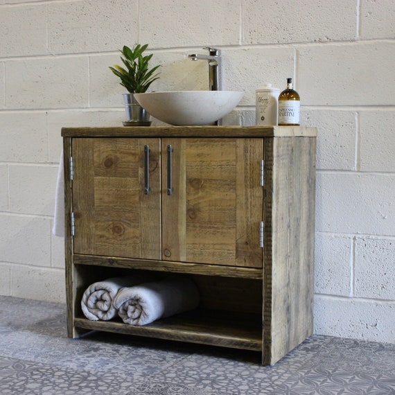 ANNA | Reclaimed Wood Bathroom Vanity Unit | Handmade Home & Decor | Modern Industrial Rustic Farmhouse Bathroom Furniture