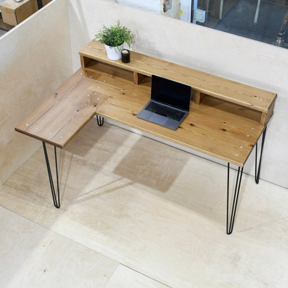 GAEL   Solid Wood Corner Desk With Hairpin Legs