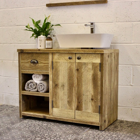 JOHNA | Large Reclaimed Wood Vanity Unit | Handmade Modern Industrial Farmhouse Rustic Bathroom Furniture | Home Decor