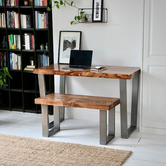 LEIGH | Reclaimed Wood Desk & Bench Set / Home Office / Simple Desk / Chunky Desk