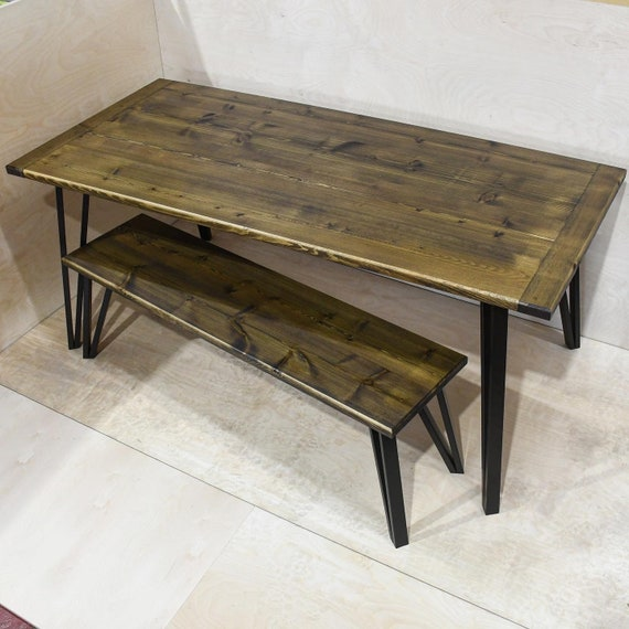 NEWTON   Solid Wood Dining Table & ONE Bench With Modern Bases