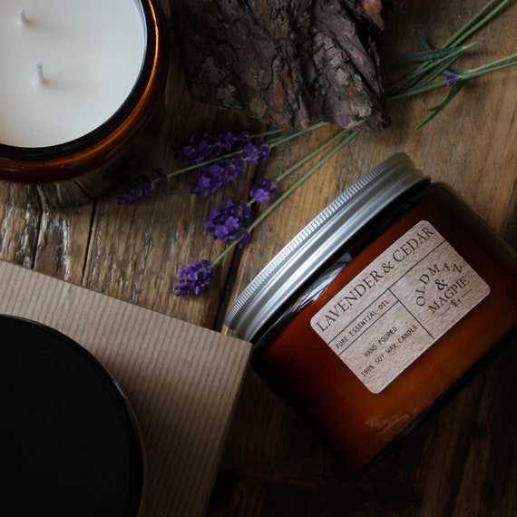 LAVENDER & CEDAR | 100% Pure Natural Essential Oil Soy Wax Candle - Hand Poured + Vegan Friendly