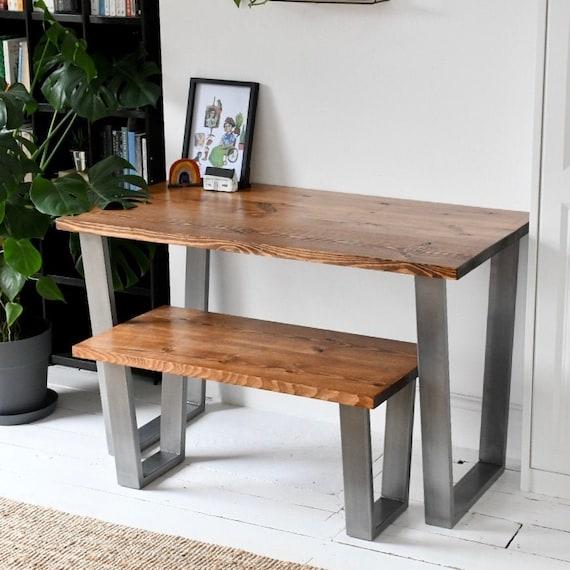 TRUMAN | Wood Desk & Bench Set / Home Office / Simple Desk / Chunky Desk
