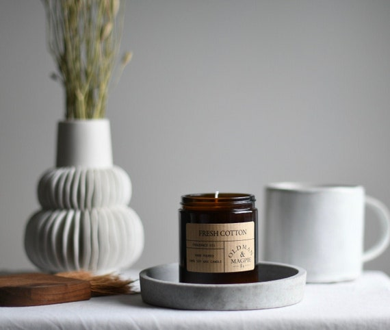 Fresh Cotton | 100% Natural Soy Wax Candle - Hand Poured + Vegan Friendly