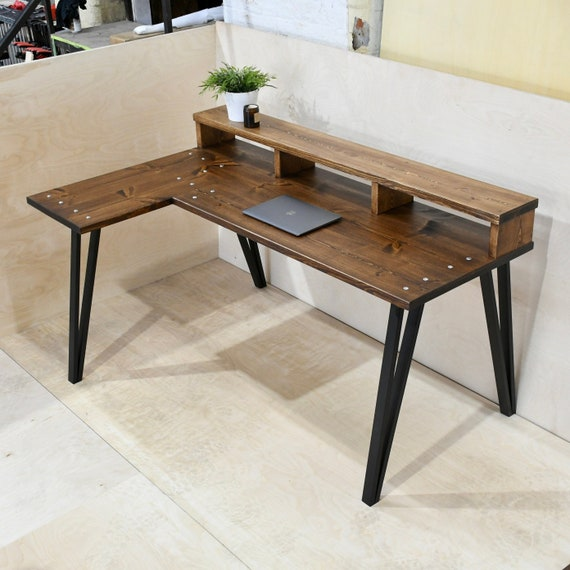 TEMIZ   Solid Wood Corner Desk With Shelf + Choice of Bases / Legs