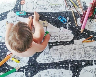 THE CITY, Giant coloring poster, Giant coloring,Road,  kids game, car play mat,  coloring, poster, kids, black and white, decor, boys