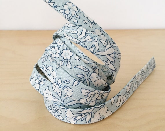 "Bias Tape- Liberty of London The Cottage Garden Morning Dew 1/2"" double-fold binding- light blue- 3 yard roll"