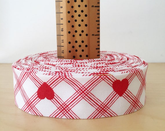 """Valentine Rose Red Hearts Quilt binding- 1.25"""" double-fold cotton- 6 yard roll"""