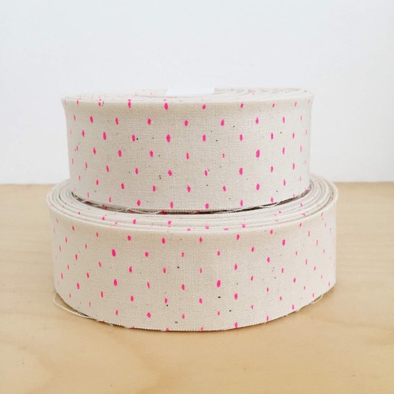 """Quilt Binding- Cotton and Steel Stitch and Repeat Hot neon pink polka dot on natural unbleached cotton- 1.25"""" double-fold quilt binding"""