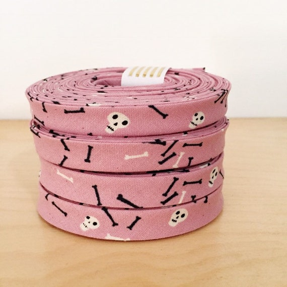 "Bias Tape- Cotton + Steel Lil Monsters tricks and treats skulls on purple pink cotton 1/2"" double-fold binding- 3 yard roll"
