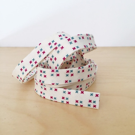 "Bias Tape in Small Wonders X diamonds cotton 1/2"" double-fold binding- 3 yard roll"