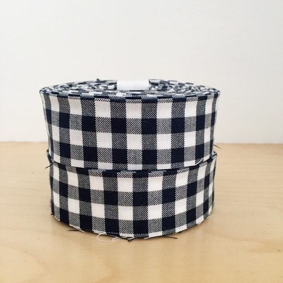 "Navy Blue and White Gingham Check Quilt binding- 1.25"" double-fold cotton"