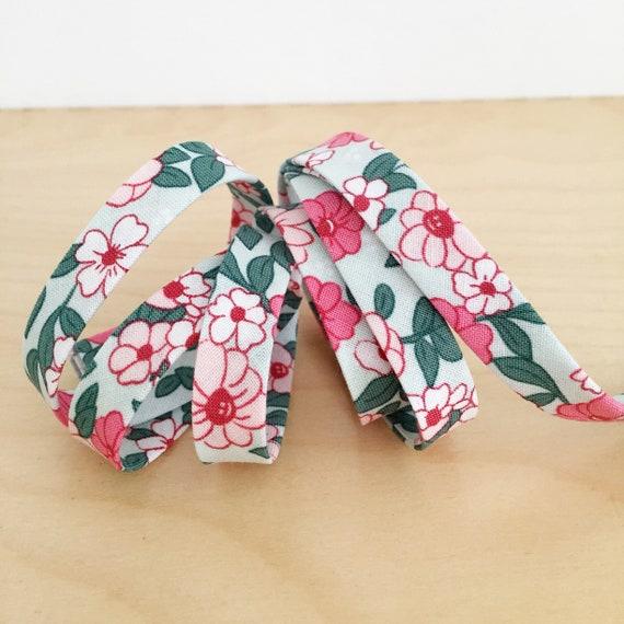 "Riley Blake Floral 1/2"" double-fold bias tape- Wonderland flowers binding- 3 yard roll"