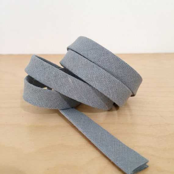 "Bias Tape- Robert Kaufman Essex Linen Cotton in Dusty Blue 1/2"" double-fold binding- 3 yard roll"