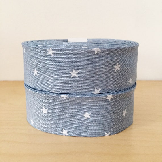 "Robert Kaufman Sevenberry Classiques Chambray and Stars Quilt binding- 1.25"" double-fold cotton"