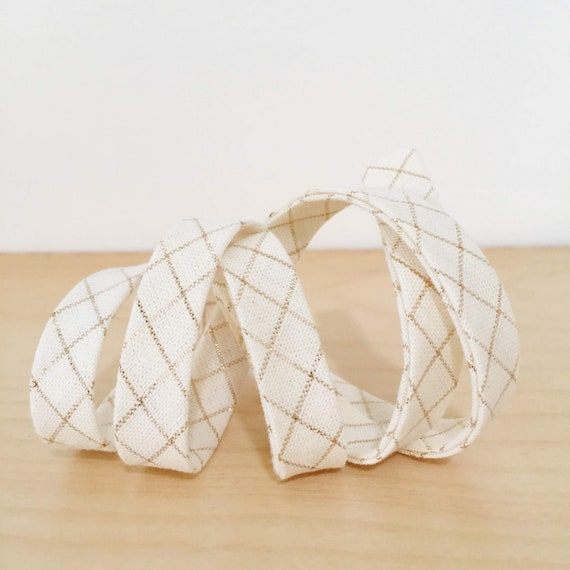 "Bias Tape in Anna Maria Horner's Loominous Illuminated Graph in Metallic Cream 1/2"" double-fold bias tape- 3 yard roll"