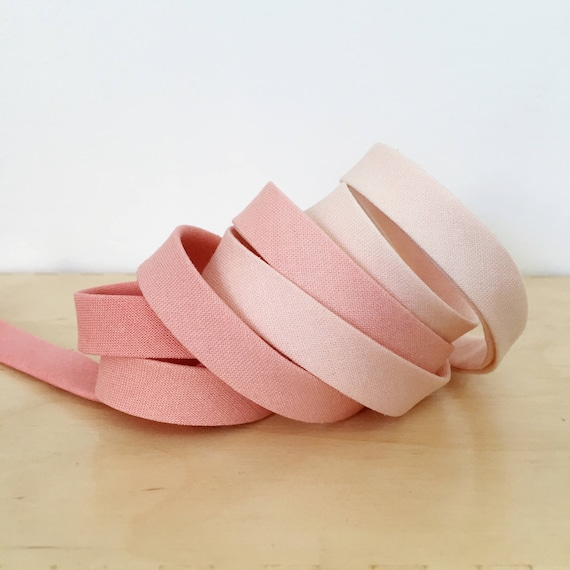 """Bias Tape- Cotton + Steel Pigment Gradients Ombre cotton 1/2"""" double-fold binding- Rosewater- 3 yard roll"""