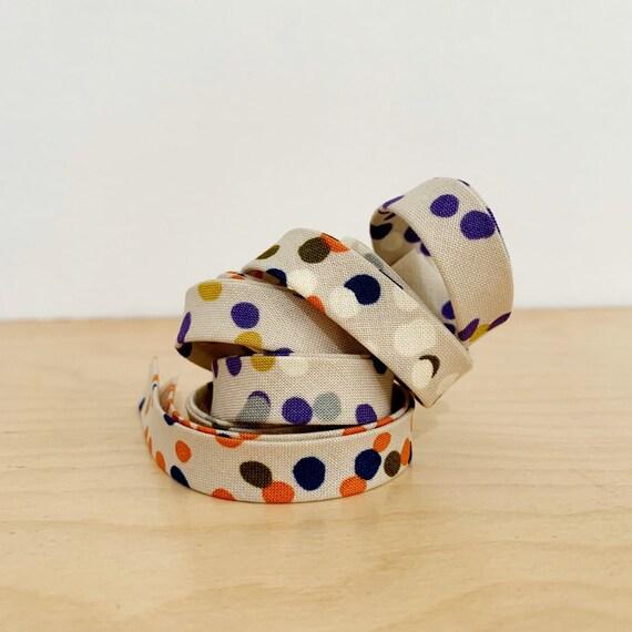 "Bias Tape in Dear Stella Fall Confetti print cotton 1/2"" double-fold binding- 3 yard roll"