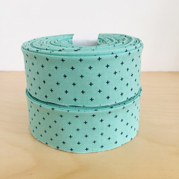 "Quilt Binding- Cotton + Steel Add it Up Sea Glass 1.25"" double-fold cotton quilt binding- Robin Egg Blue"