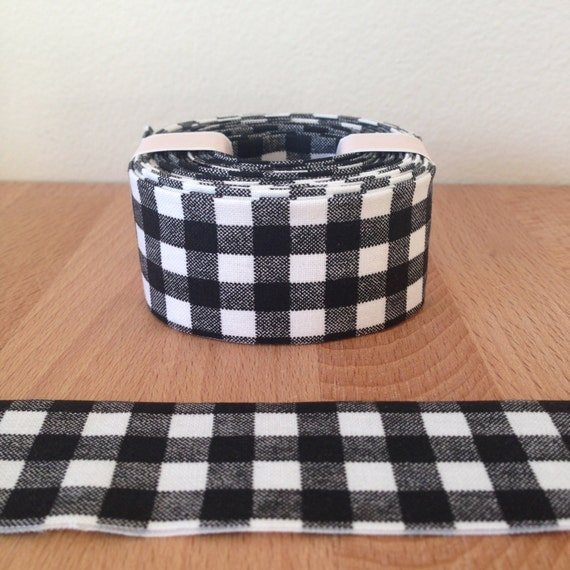 "6 yards of 1.25"" double-fold quilt binding- black + white gingham cotton"
