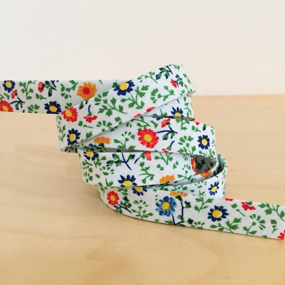 "Green, Blue and Orange Floral 1/2"" double-fold bias tape- Easter spring flowers binding- 3 yard roll"