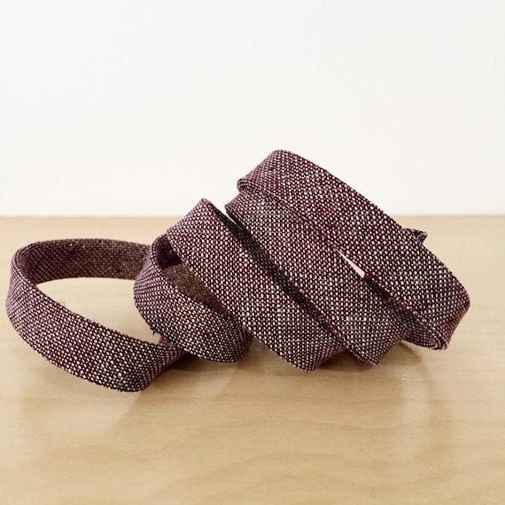 "Bias Tape- Robert Kaufman Essex Yarn-Dyed Burgundy and Metallic Gold Chambray 1/2"" double-fold binding- 3 yard roll"