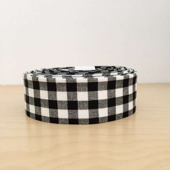 """Black and white check 1.25"""" double-fold quilt binding- Gingham cotton"""